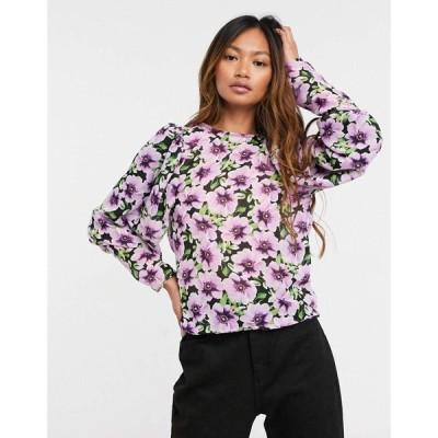 エイソス ASOS DESIGN レディース ブラウス・シャツ トップス long volume sleeve blouse in floral print マルチカラー