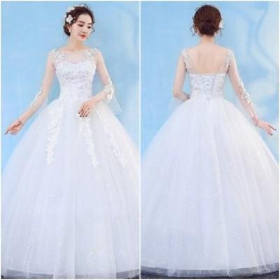 ウェディングドレス 白 激安 結婚式 レース 刺繍 披露宴 Aライン プリンセス 大きいサイズ チュール