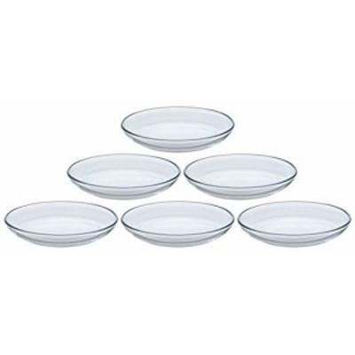 アデリア ガラス プレート クリア 最大14.8×高2cm プレーン 小皿 6枚セット 日本製 285