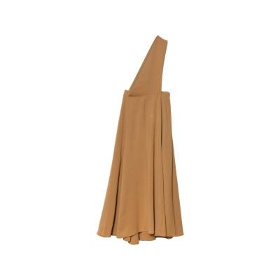 リエディ Re:EDIT [低身長向けSサイズ対応]ワンショルダーフレアジャンパースカート (キャメル)