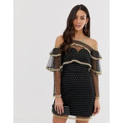フォーエバーユニーク Forever Unique レディース ワンピース ワンピース・ドレス metallic cold shoulder dress with sheer sleeves ブラック/ゴールド