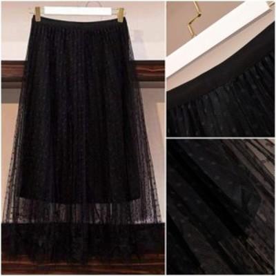 春新作 春スカート チュールスカート ロング ミモレ丈 フレアスカート 大きいサイズ ウエストゴム スカート 透け感 ドット柄 体型カバー