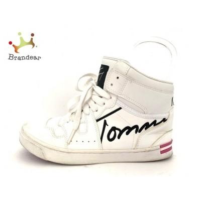 トミー TOMMY スニーカー 5 レディース 白×黒×ピンク レザー 新着 20201006