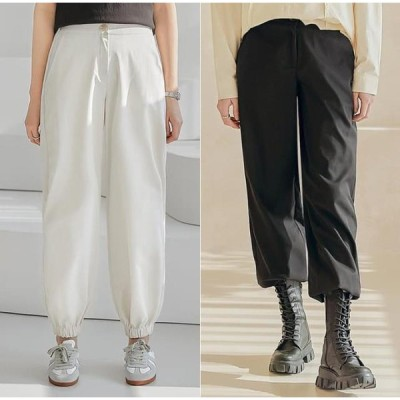 common unique レディース パンツ Buttoned Waist Jogger Pants