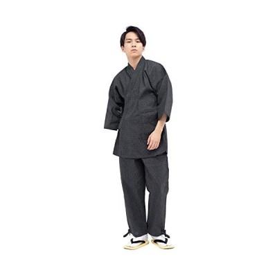 [キョウエツ] 作務衣 洗える 刺子柄 綿 06 メンズ (ブラック L)
