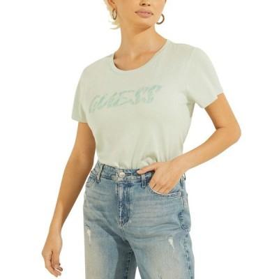 ゲス レディース シャツ トップス Pool Reflection Logo T-Shirt