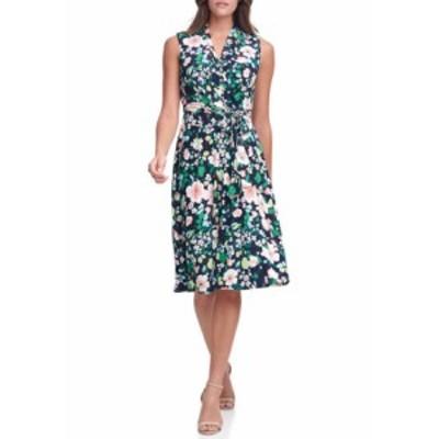 トミー ヒルフィガー レディース ワンピース トップス Women's Sleeveless Floral Wrap Dress Sky Captain Multi