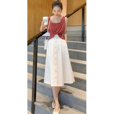 ハイウェストスカート コットン ミモレ丈 Aライン 大きいサイズ きれいめ 夏 黒 ホワイト