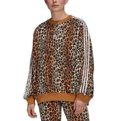 アディダス カットソー トップス レディース Women's Cotton Animal-Print Sweatshirt Brown