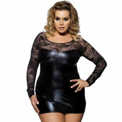 女性のセクシーなボディコンナイトドレスクラブ着用シースルーレースパテントレザープラスサイズショートドレス