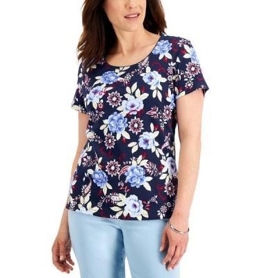ケレンスコット カットソー トップス レディース Petite Paloma Garden Top, Created for Macy's Intrepid Blue