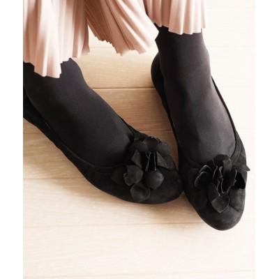 (sankyoshokai/サンキョウショウカイ)フラワー付きバレエシューズレディース靴ボロネーゼ製法/レディース ブラック系1