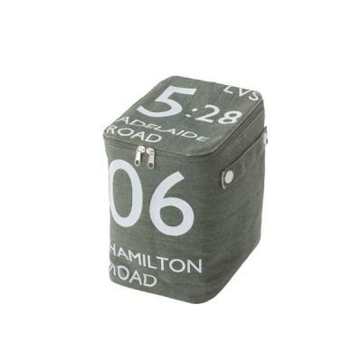 ストレージボックス/蓋付き収納箱  ハーフサイズ グリーン  幅18cm×奥行26cm×高さ23cm ファスナー付き FKG-259GR