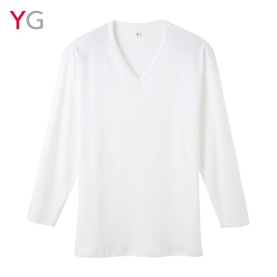 GUNZE グンゼ YG ダブルホット Vネック9分袖シャツ(メンズ)【SALE】 ホワイト L