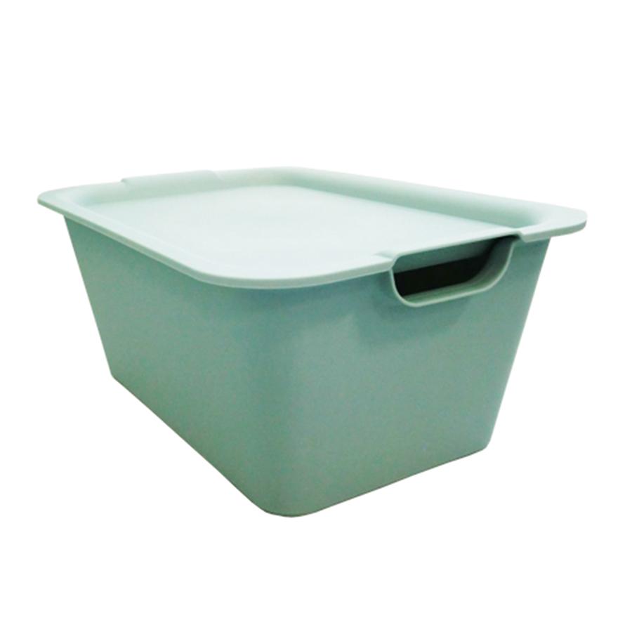 日本製萬用附蓋收納整理箱(藍)