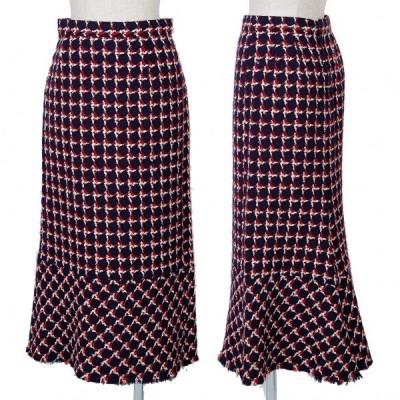 ジュンヤワタナベ コムデギャルソンJUNYA WATANABE COMME des GARCONS デザイン織り切替スカート 紺赤白S 【レディース】