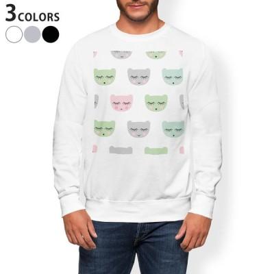 トレーナー メンズ 長袖 ホワイト グレー ブラック XS S M L XL 2XL sweatshirt trainer 裏起毛 スウェット 動物 模様 かわいい 011966
