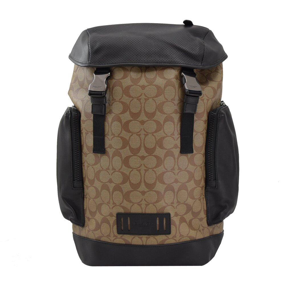 COACH 專櫃商品 89959 滿版LOGO印花皮革拼接抽繩後背包.咖/黑