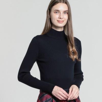 ウールニットリブハイネックセーター