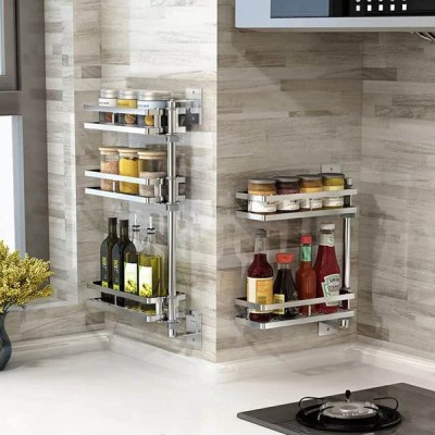[2 Layers]キッチン収納ツール用ステンレス鋼壁掛け回転調味料ラック