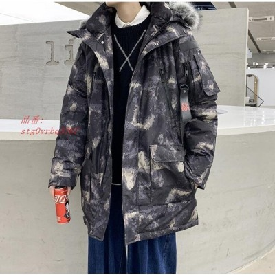 中綿入りジャケット 無地 迷彩柄 フード付き 防風 中綿ジャケット ロングジャケット ブルゾン メンズ 防寒 ジャケット アウター