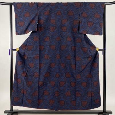 紬 美品 名品 有栖川文 藍色 袷 身丈154.5cm 裄丈63cm S 正絹 中古