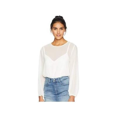 1.STATE 1.STATE Long Sleeve Mixed Media Knit Bodysuit レディース シャツ トップス Soft Ecru