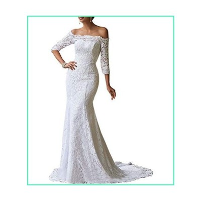 Women's Mermaid Wedding Dresses Off The Shoulder 3/4 Sleeves Lace Bridal Gown with Train White並行輸入品