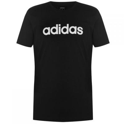 アディダス adidas メンズ Tシャツ トップス Essentials Linear T-Shirt Black/RawWhite