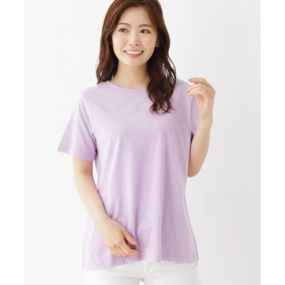 (SHOO・LA・RUE/シューラルー)【M-L】スタッズエスニック刺しゅうTシャツ/レディース ライトパープル(081)