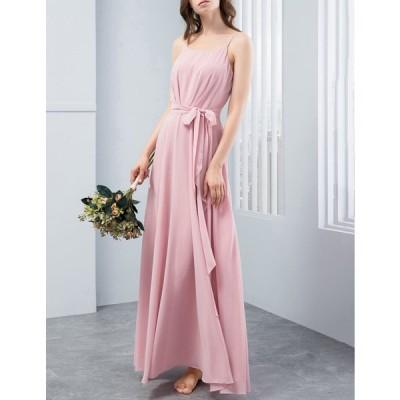 在庫処分 激安 パーティードレス 結婚式ドレス ロングシフォンワンピース  リンボン付き 呼ばれ