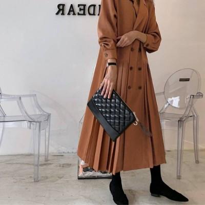 2色 アウター レディース コート ロング ワンピース ワンピ ドレス トレンチコート ダブルボタン 長袖 プリーツ 切り替え デザイン おしゃれ きれいめ ブラウン