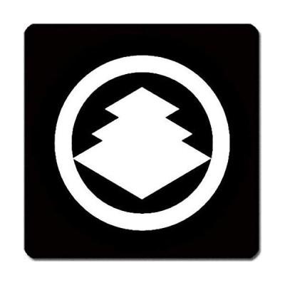家紋 捺印マット 丸に三階菱紋 11cm x 11cm KN11-3689W 白紋