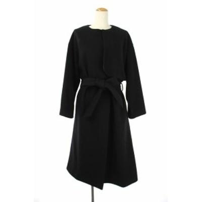 【中古】フローレント FLORENT ノーカラーウールコート ロング ベルト付き 黒 ブラック /ES ■OS レディース