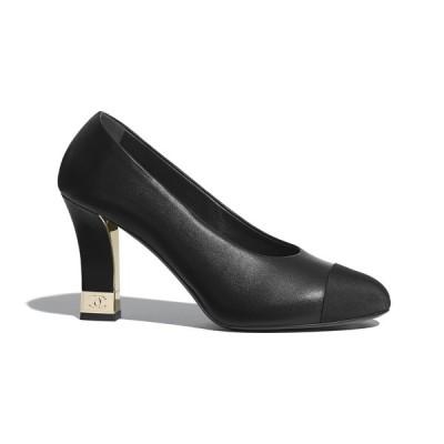 シャネル CHANEL パンプス シューズ 靴 ブラック ラムスキン グログラン