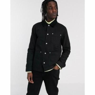 エイソス ASOS DESIGN メンズ ジャケット Gジャン ワークジャケット アウター denim worker jacket in black with cord collar ブラック
