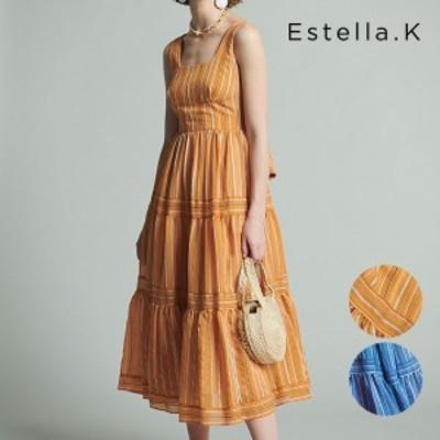 《即納》【SALE50%OFF】エステラケー Estella.K Andrea Striped Dress ワンピース ドレス フレア ストライプ ノースリーブ Aライン バケ