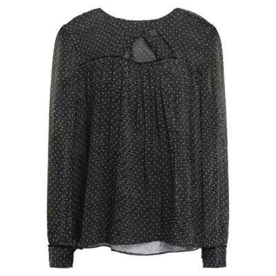 バッシュ BA&SH レディース ブラウス・シャツ トップス cutout flocked polka-dot silk blouse Black