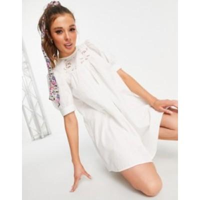 エイソス レディース ワンピース トップス ASOS DESIGN mini swing dress with broiderie cutwork detail in white White