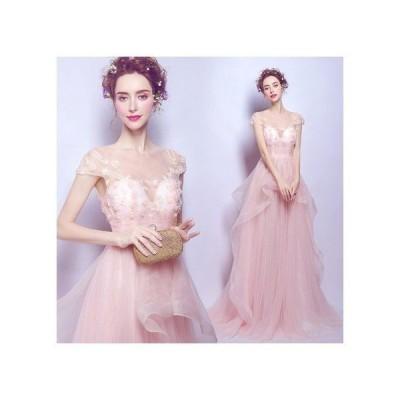 ウエディングドレスオフショルダータイプ可愛い花柄ロングドレスマーメイドライン豪華なピンクドレス宴会花嫁