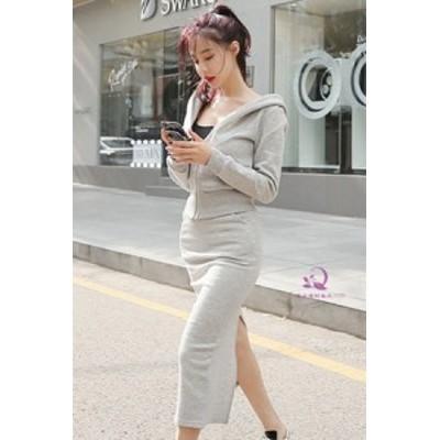 セットアップ レディース 秋 スウェット パーカー 秋服 レディース 韓国 ファッション セットアップスカート ジップアップ パーカー 上下