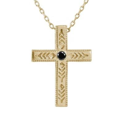 ネックレス インディアン 10金 ネックレス ダイヤモンド ブラックダイヤモンド クロス 十字架 羽根 羽  メンズ k10 10k ゴールド 父の日 花以外