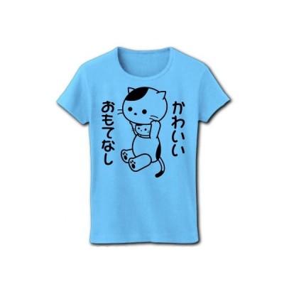 「かわいいおもてなし」着ぐるみバイトねこ リブクルーネックTシャツ(ライトブルー)