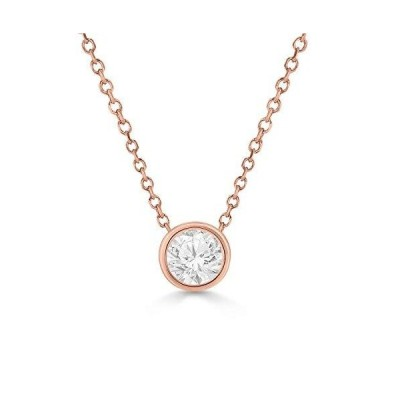 0.38 Carat Diamond Bezel Solitaire Pendant Necklace in 14K RoseGold for Women with IGL Certificate - GH Color, I1 Clarity