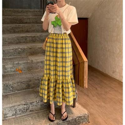 Newタイプついに入荷  おしゃれな INSスタイル チェック柄 ハイウエスト 小さい新鮮な ロングスカート