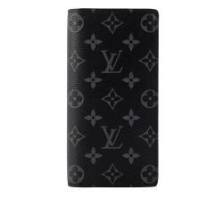 LV Monogram Brazza 側拉鍊對開長夾(黑灰) M61697