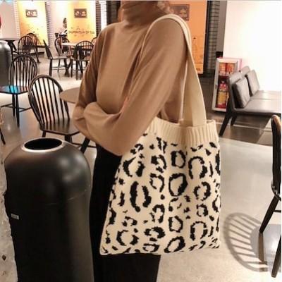 激安価ヒョウ柄バッグ ニットバッグ  韓国ファッション バッグ シンプル 通学 通勤 トートバッグ ショルダーバッグ ヒョウ柄