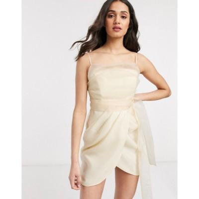 エイソス ミニドレス レディース ASOS DESIGN organza cami mini dress wih drape skirt in Cream エイソス ASOS