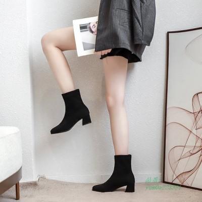 ショートブーツ レディース ソックスブーツ 靴 黒 歩きやすい 痛くない スクエアトゥ ヒール