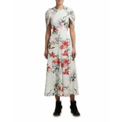 アレキサンダー・マックイーン レディース ワンピース トップス Floral-Print Cape-Sleeve Dress WHITE PATTERN